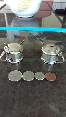 2 Small Sterling Silver Condiment Serving Container W/ Spoon & Cobalt Blue Liner