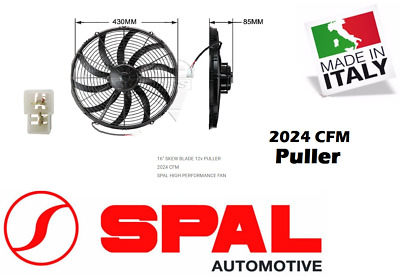 "Spal 16"" Thermo Fan Skew Blade 12v Puller 2024 CFM Low Profile High Proformance"