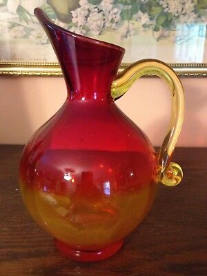 Blenko? Amberina Art Glass Pitcher Yellow Red Tangerine Handblown