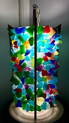 Chunky Lucite Swag Lamp Hanging Light Tiki Bar - MASSIVE 35 by 17 Inches!