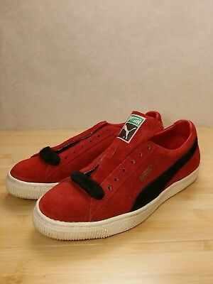 huge selection of 4c001 a694b VINTAGE PUMA CLYDE sneakers Made in Yugoslavia Red & Black Suede 1970s