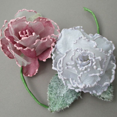 "2 Vintage Hand Made MILLINERY Flowers 3"" Full Blown ROSES PINK + Lavender-White"