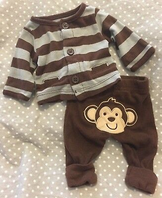 EUC Carter's Just One You preemie boys girls unisex 2-pc monkey outfit