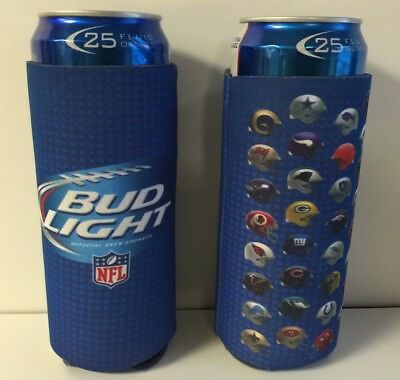 Bud Light Beer NFL 24 / 25 oz Koozie ~ Set of (2) Fits Extra Ounce Cans NEW F/S