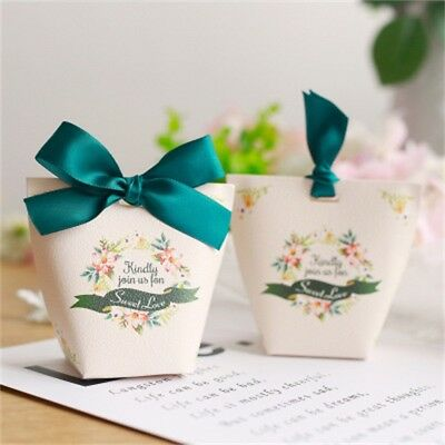 10/50pcs Candy Box Paper Gift Boxes Wedding Party Favors Ribbon Bags Baby Shower