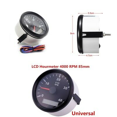 Waterproof Marine Tachometer Gauge LCD Tacho Hour Meter 12/24V 0-4000 RPM 85mm