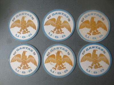 6 x QANTAS AIRLINES 1970,s Issue FLY U.S.A. COASTERS collectable