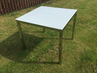 IKEA TORSBY TABLE   White Glass And Chrome   85 X 85