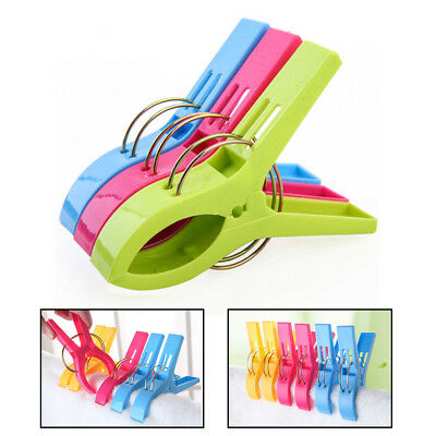 Pack of 8 pcs Large Random Colour Plastic Beach Towel Pegs Clips to Sunbed