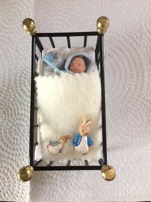 DOLLS HOUSE HAND MADE OOAK Miniature BABY BOY in bed peter rabbit