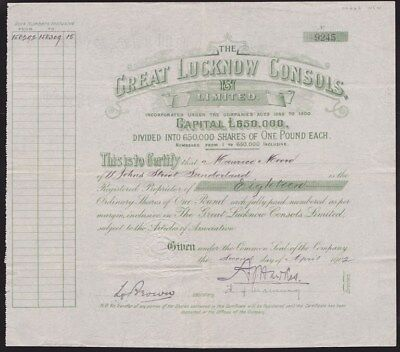 AUSTRALIA: 1902 Share Certificate. Great Lucknow Consols, Ltd. 18 x £1 shares