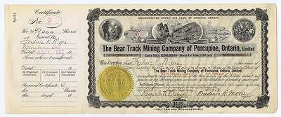 Bear Track Mining Co of Porcupine, Ontario, certificate stock shares