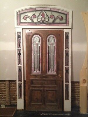 Antique Vintage Stained Glass Door Sidelites And Transom Window Set