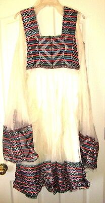 Vintage Ethiopian Woman's Shama Dress and Scarf Ornate