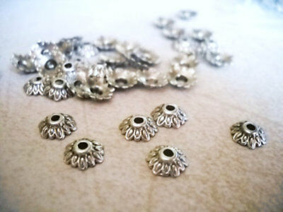 20 Flower Bead Caps Antique Silver Tone Spacers Findings Floral