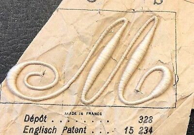 """LOT 4 - Vintage Plumetis Express French Monograms - Letter M (or W) 2.5"""" x 1.5"""""""