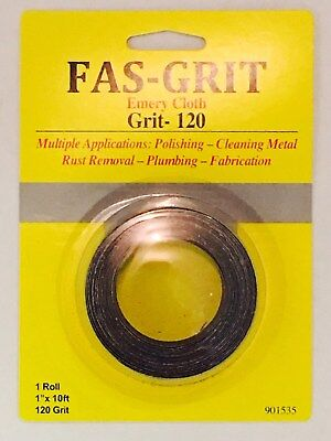 "Fas-Grit 1"" x 10' Emery Cloth-120 Grit Aluminum Oxide Multiple Applications"