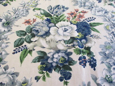 Vintage DAVID WHITEHEAD French Linen Cotton Floral Fabric Curtain 50 60's 1mt