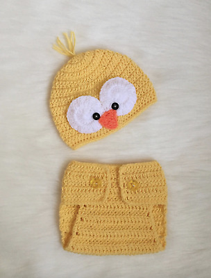 Handmade Beanie and Diaper Cover Set Baby Costume