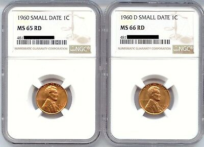 *Small Dates 1960 & 1960-D Lincoln Cents, NGC Certified MS-65RD & MS-66RD / pair