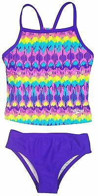 Speedo Girl's Sporty Splice Tankini Swimsuit -Sizes: 7, 8, 10, 12, 14, 16  AB-24