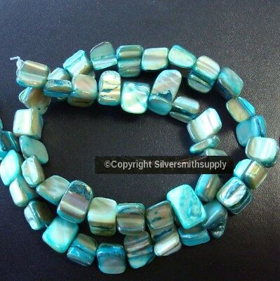 """Natural baroque TURQUOISE Abalone sea shell drilled nugget beads 15"""" strnd bs337"""