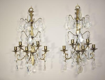 Pair Of French Style Crystal Sconces W/ Floral Detail 5 Candle Holders