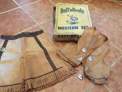 TRUE VINTAGE LITTLE GIRLS 2-PC. LEATHER COWGIRL OUTFIT w/orig. box