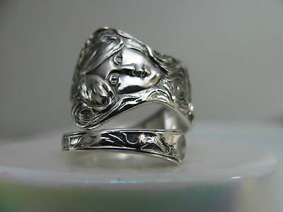 Antique 1900 Sterling Silver spoon RING s 9 1/4 DAPHNE #5596 Jewelry Floral