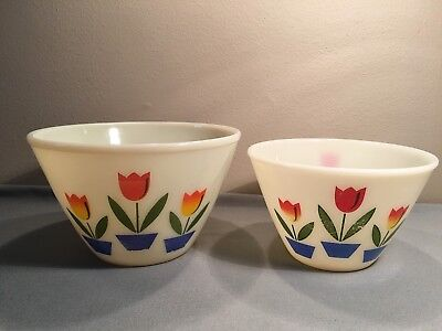 Vtg Anchor Hocking Fire King Ivory Tulip Flower Splash Proof Mixing Bowls