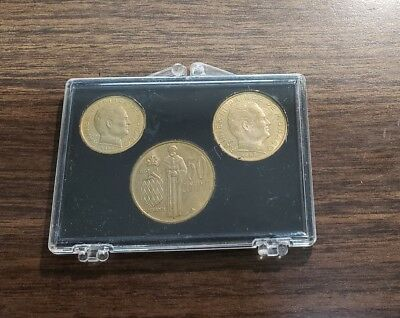 Lot Of 3 Monaco 1962 10, 20, 50 Centimes Coins In Case