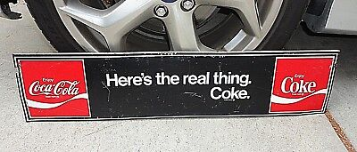 """Vtg 1969 HERE'S THE REAL THING COKE Metal Sign 31""""x7"""" coca cola LIONS DRAG STRIP"""