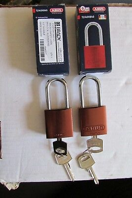 "Abus 72/40Hb40 Brady Keyed Padlock Brown 1.5"" Shackle Lot Of 2 Free S&h"