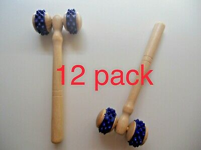 LOT *12 Two Wheels Wooden Roller Cellulite Circulation Body Massager Back Spine