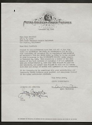 1940 Joan Crawford Lawyer Signed Mgm Studio Contract