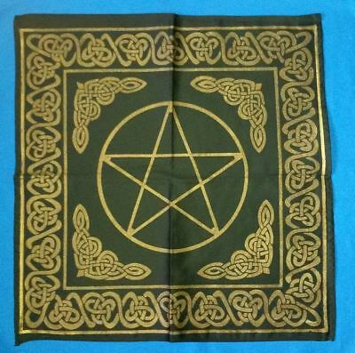BLACK ALTAR CLOTH WITH GOLDEN PENTACLE 60 x 60cm Wicca Pagan Witch Goth