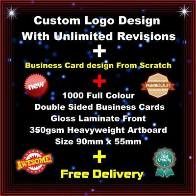 1000 Full Colour  Double Sided Business Cards + Custom Logo Design + Free Post