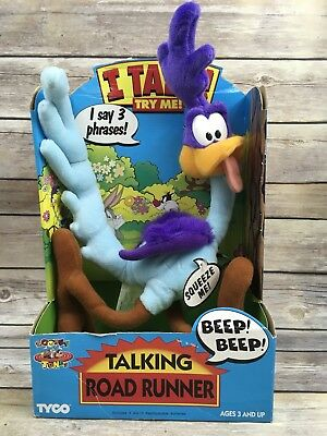 "1994 TYCO 13"" Talking Road Runner Plush Stuffed Toy Looney Tunes"