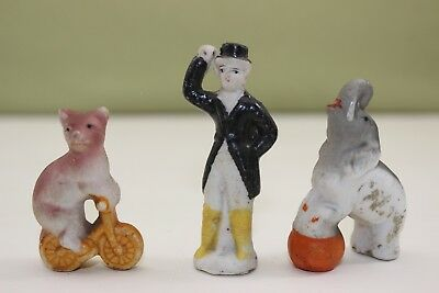 3 Pc. Vtg. Bisque Circus Figures/Cake Toppers~Bear,Ring Master,Elephant 2.5""