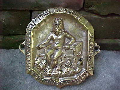 Antique Brass Bank Fire King Safe Plaque Name Plate Sign Wyandotte Mi New York
