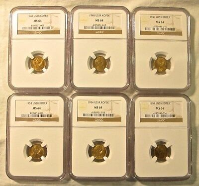 Russia USSR Aluminum-Bronze 1946,48,49,53,54,57 1 Kopeks NGC MS64 Lot of 6!!!