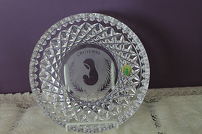 """Beautiful Waterford Crystal 8"""" Christmas Plate - Mother & Child (Ireland)"""