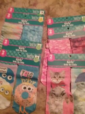 14 pairs of Side by Side SocksGirls  Shoe 10.5- 3  NWT (7)  2PK