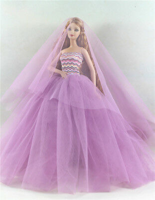Fashion Princess Party Dress/Evening Clothes/Mantilla/Gown For Barbie Doll