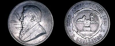 1895 South African 2 Shilling World Silver Coin - South Africa - Scratches