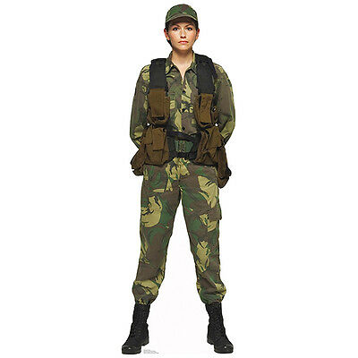 SOLDIER WOMAN CARDBOARD CUTOUT Standup Standee Poster Camo Army Marine Female