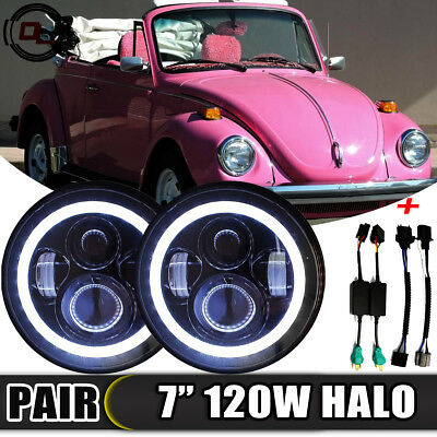 "7""Inch 120W LED Round Headlight Lamp Hi/Lo Beam for 1950-1979 VW Beetle Classic"
