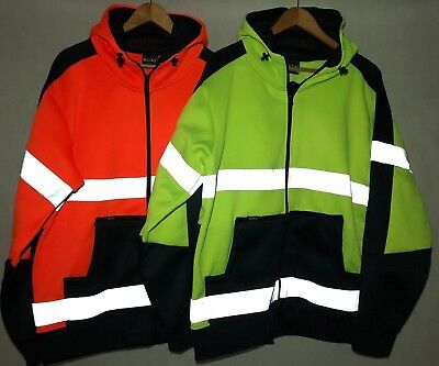 Hi Vis Fleece Full Zip Hoodie Safety Work Jumper Jacket With Reflective Tape