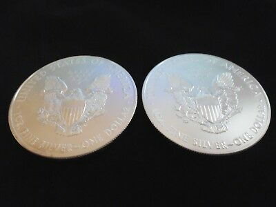 2 X U.s.a Liberty Eagles 1 X 2016 1 X 2017 Silver .999 Bullion Coins In Wallets.