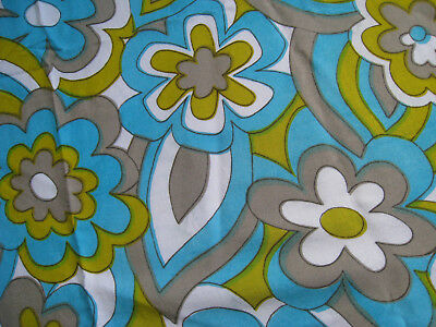 Vintage FLORAL rayon fabric1970s FLOWER POWER fabric STRIKING colourful FLORAL